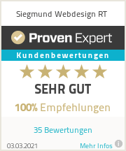 Bewertung für Siegmund Webdesign Reutlingen - Sehr gut